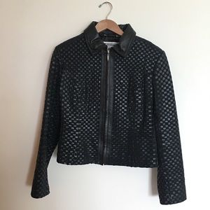 Marvin Richards Leather & Suede Weave Jacket SZ S